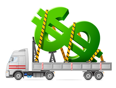 big truck: Road transportation of dollar symbol  Big sign of money in back of truck