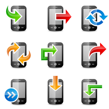 Combination of phone symbol and arrow sign   Vector