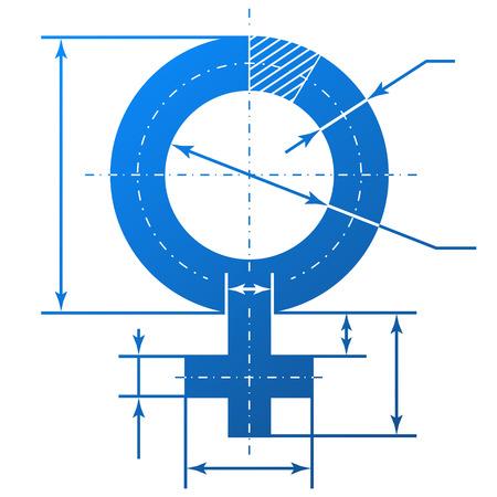 여자 기호의 모양에 청사진 도면의 치수 라인 요소와 여성의 상징