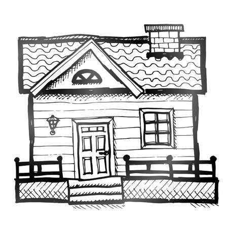lodge: Hand drawn house  Sketch of home in doodle style  Illustration