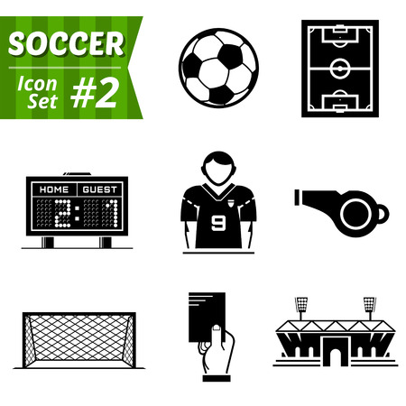 misconduct: Icons set of soccer elements  Collection of symbols for association football