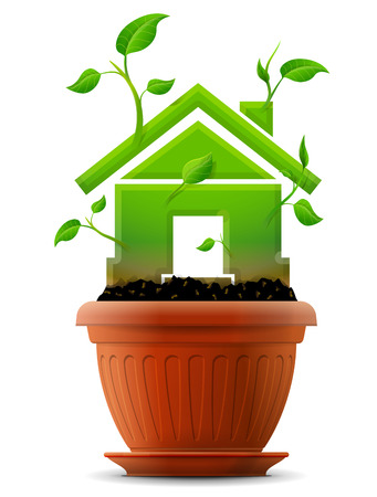 bine: Growing house symbol like plant with leaves in flower pot  Stylized plant in shape of home sign in ground