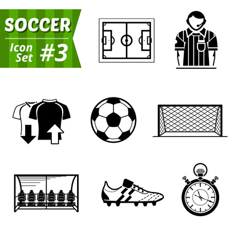 soccer cleats: Icons set of soccer elements  Illustration