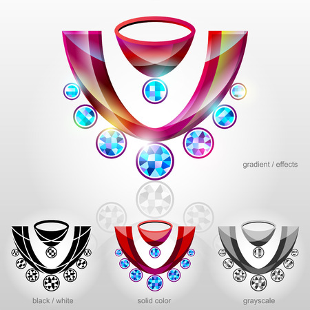 zircon: Symbol in shape of bust with diamond necklace.  Decollete sign with gems.  Qualitative vector  design element about jewellery industry, accessories, fashion, luxury, etc