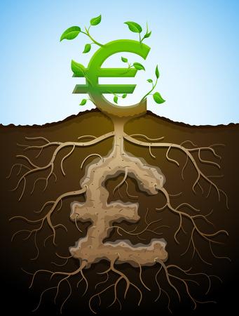 sterlina: Plant, radici e tuberi in forma di simbolo di denaro Vettoriali