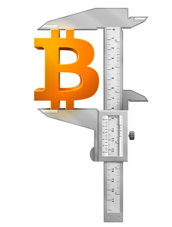 vernier: Caliper measures bitcoin symbol.  Concept of bitcoin sign and measuring tool. Qualitative vector  illustration for banking, financial industry, cryptocurrency, economy, accounting, etc