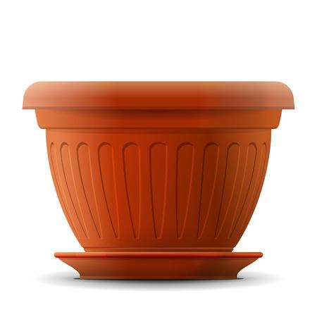 空のフラワー ポットの鍋植物のための受け皿の正面で。園芸、農業、フローラ、生態学、自然などについての質的なベクトル図