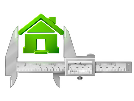 qualitative: Caliper measures house symbol  Concept of home sign and measuring tool.  Qualitative vector  illustration about architecture, building, real estate, construction, development, housing, etc