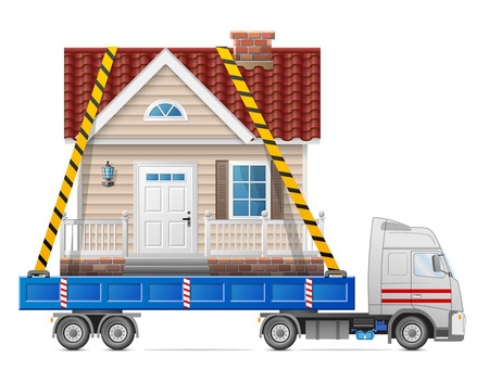 cartage: Road transportation of house  Big home fastened in back of truck.  Qualitative vector illustration about architecture, transportation, building, cartage, real estate, etc