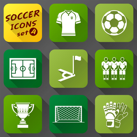 corner kick: Flat icons set of soccer elements.  Collection of symbols for association football.  Qualitative vector icons about soccer, sport game, championship, gameplay, etc