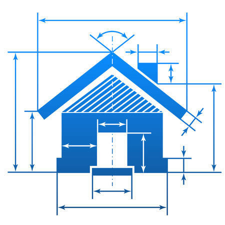 Home symbol with dimension lines  Element of blueprint drawing in shape of house sign  Qualitative vector  EPS-10  illustration about architecture, building, real estate, construction, development, housing, etc  イラスト・ベクター素材