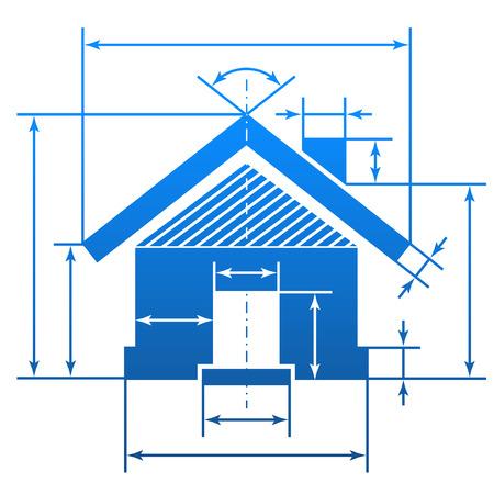 집의 모양에 그리는 청사진의 차원 라인 요소 홈 기호 아키텍처, 빌딩, 부동산, 건설, 개발, 주택 등에 대한 질적 벡터 EPS-10 그림에 서명