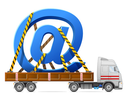 cartage: Road transportation of mail sign  Big email symbol fastened in back of truck  Qualitative vector  EPS-10  illustration about internet, communication services, information technology, email, telecommunication, etc