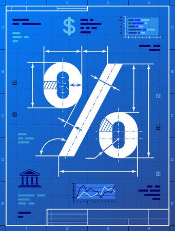 은행, 금융 산업, 판매, 할인, 계산 등을위한 청사진 같은 백분율 기호 청사진 종이 질적 벡터에 백분율 기호의 제도를 양식에 일치시키는 드로잉 EPS-10