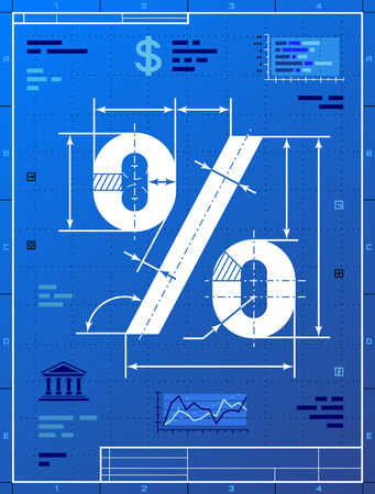 pct: Percent sign like blueprint drawing  Stylized drafting of percentage symbol on blueprint paper  Qualitative vector  EPS-10  illustration for banking, financial industry, sale, discount, calculation, etc