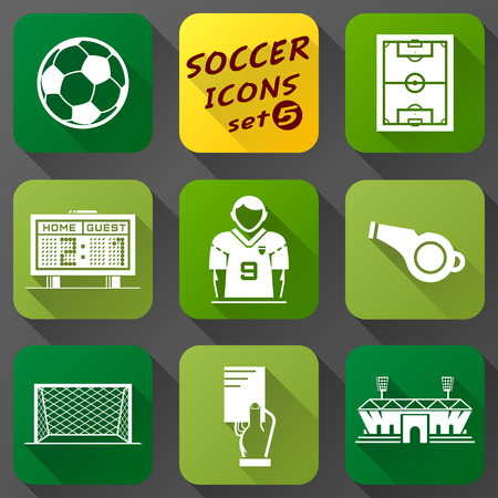Flat icons set of soccer elements  Collection of symbols for association football  Qualitative vector  EPS-10  icons about soccer, sport game, championship, gameplay, etc Vector