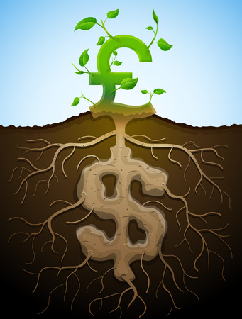 growing money: Growing pound sign like plant with leaves and dollar like root  Plant, roots and tuber in shape of money symbol