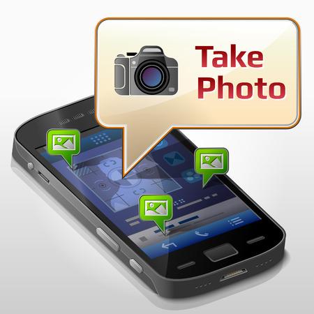 pop up: Smartphone met tekstballon over fotograferen. Dialoogvenster pop-up op het scherm van de telefoon