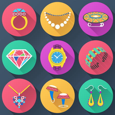 Set of jewelry flat icons.  Collection of color icons for luxury industry  Vector