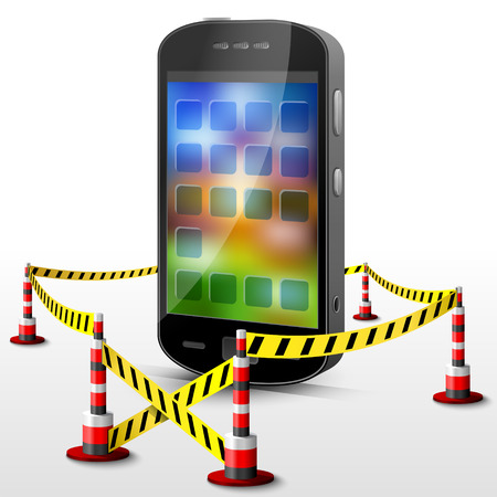 Smartphone located in restricted area.  Mobile phone surrounded barrier tape  Vector