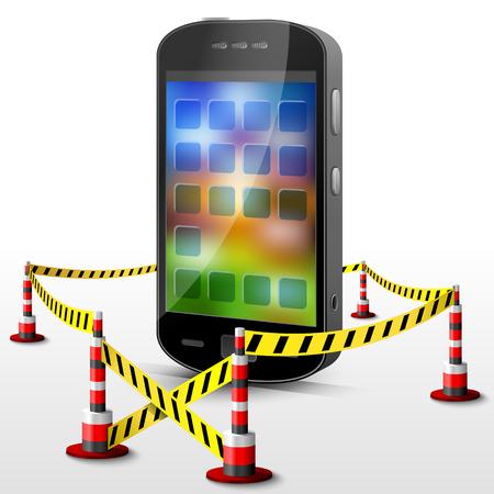 area restringida: Smartphone situado en zona restringida. Tel�fono m�vil, rodeado de cinta de barrera Vectores