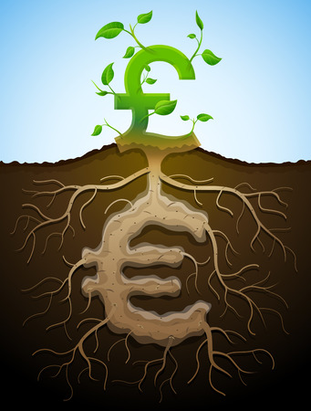 grow money: Growing pound sign like plant with leaves and euro like root