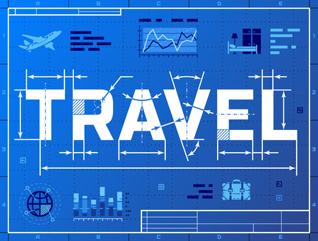Word TRAVEL like blueprint drawing.  Stylized drafting of tourism on blueprint paper