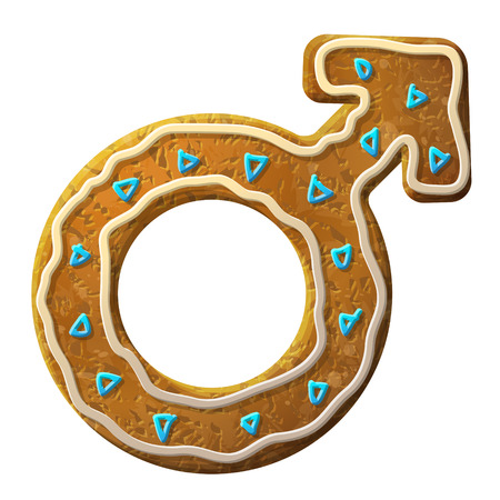 impotence: Gingerbread male symbol decorated colored icing.
