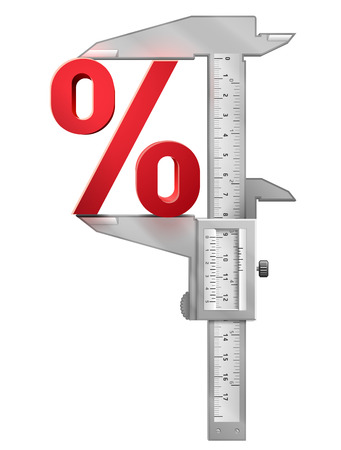 pct: Caliper measures percentage symbol. Concept of percent sign and measuring tool.