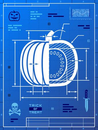 Pumpkin image like blueprint drawing. Stylized drafting of squash on blueprint paper.  Illustration