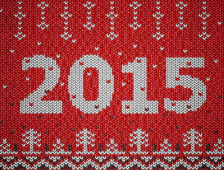 Card of New Year 2015 with knitted texture.