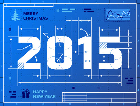 Card of New Year 2015 like blueprint drawing.