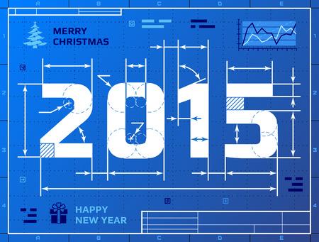 청사진 도면 등 새해 2015의 카드입니다.