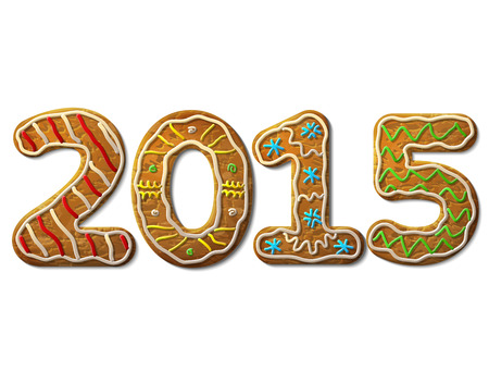 New Year 2015 in shape of gingerbread isolated on white background