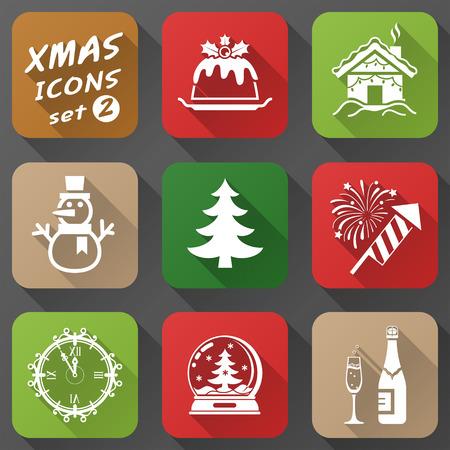 plum pudding: Set di icone di Natale in stile appartamento Semplici nuove icone anno con una lunga effetto ombra Vettoriali