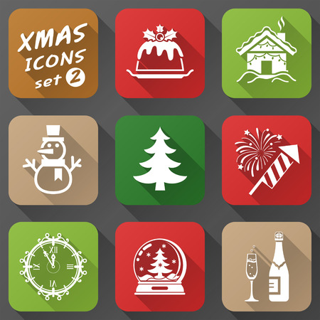 watch new year: Set of christmas icons in flat style  Simple new year icons with long shadow effect