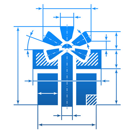 Gift symbol with dimension lines  Element of blueprint drawing in shape of gift sign  Qualitative vector