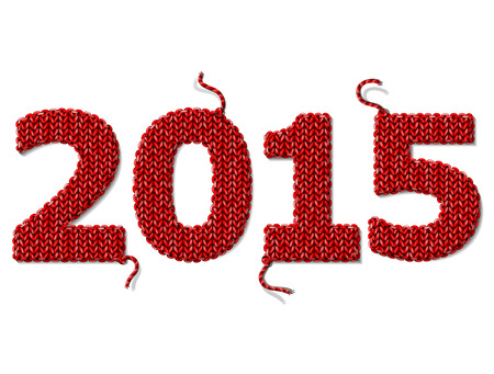 stockinet: New Year 2015 of knitted fabric isolated on white background.
