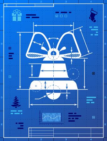 Bell symbol like blueprint drawing.