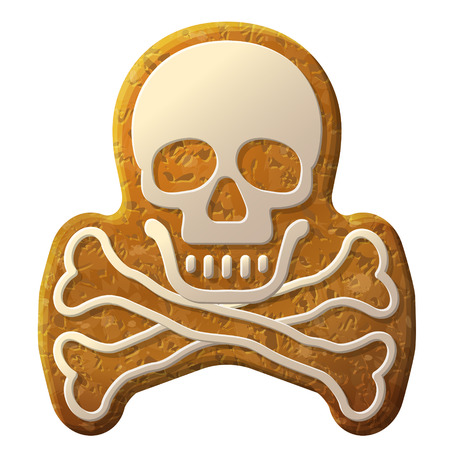 Gingerbread skull symbol decorated icing.  Vector