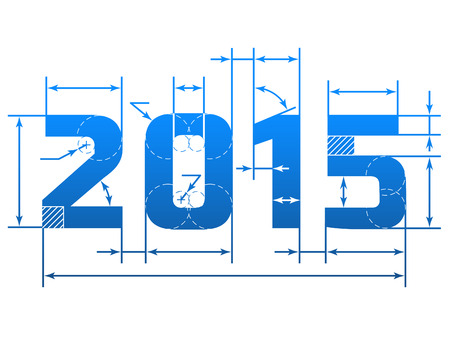 New Year 2015 number with dimension lines. Element of blueprint drawing in shape of 2015 year. Qualitative vector (EPS-10) design element for new years day, christmas, winter holiday, engineering, new years eve, technologies, etc