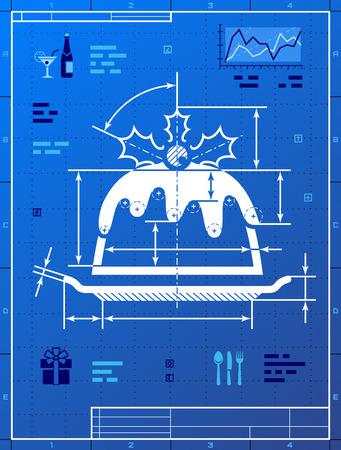 gateau de noel: G�teau de No�l comme le dessin de plan