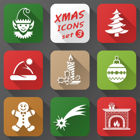 elf hat: Set of christmas icons in flat style Illustration