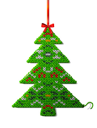 spruce thread: Christmas tree of knitted fabric with ornament