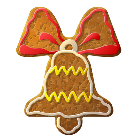 holiday cooking: Gingerbread bell symbol decorated colored icing. Holiday cookie in shape of jingle bell sign. Qualitative design element for new years day, christmas, winter holiday, cooking, new years eve, food, silvester, etc