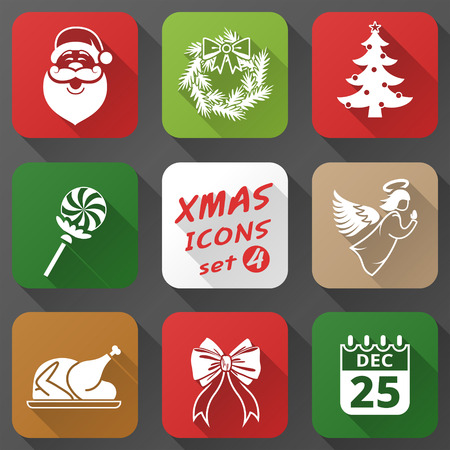 sinterklaas: Set of christmas icons in flat style. Simple new year icons with long shadow effect. Qualitative  graphics for christmas, new years day, winter holiday, design, silvester, etc