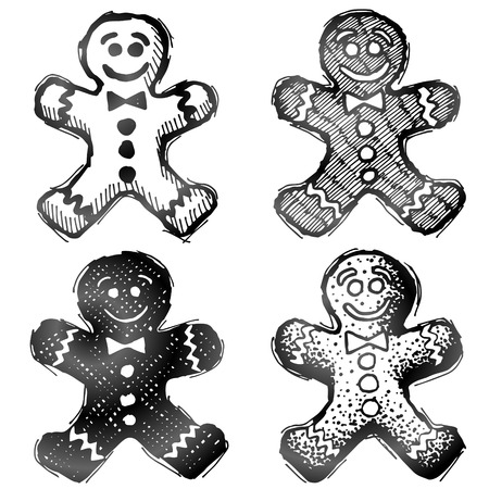 holiday cooking: Hand drawn gingerbread man. Sketch of holiday cookie in doodle style. Qualitative illustration for new years day, christmas, winter holiday, cooking, new years eve, food, silvester, etc Illustration