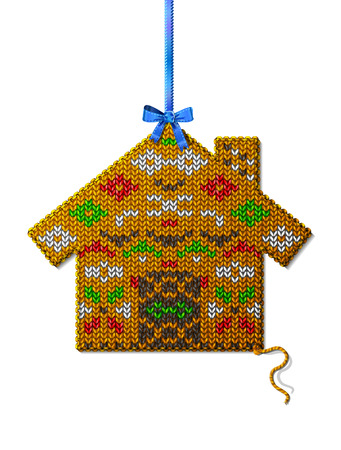stockinet: Christmas house of knitted fabric with ornament. Knitted home hanging on ribbon. Qualitative design element for new years day, christmas, winter holiday, new years eve, decoration, silvester, etc
