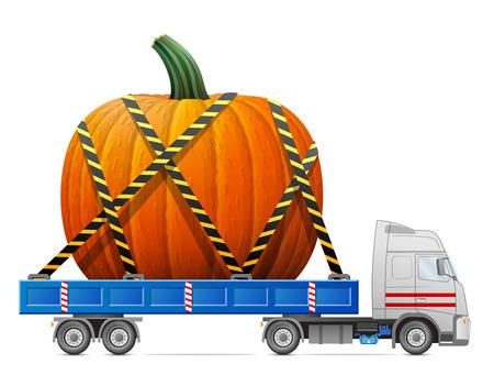 cartage: Road transportation of pumpkin fruit. Big winter squash in back of truck. Qualitative illustration for agriculture, vegetables, cooking, halloween, gastronomy, thanksgiving, olericulture, etc