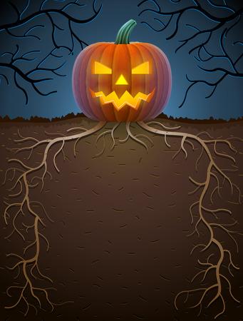 monstrous: Jack-o-lantern con radici in illuminazione notturna. Modello di Halloween con la zucca mostruosa. Illustrazione qualitativa per Halloween, storie spaventose, tema del partito, trick-or-treat, il design horror, ecc Vettoriali